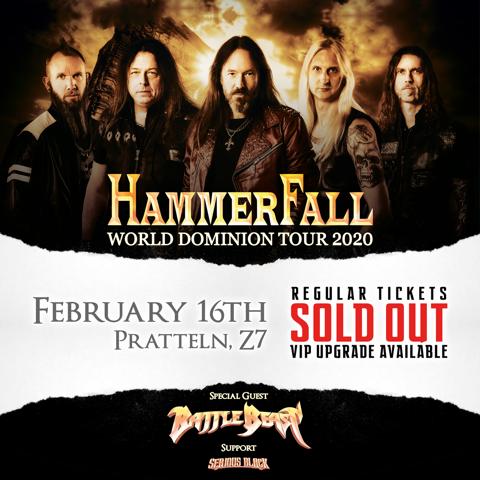 Hammerfall – World Dominion Tour 07.02.2020, Tonhalle – AUSVERKAUFT!